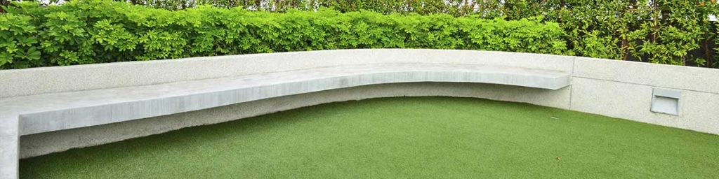 Synthetic Grass and Bench with Garden