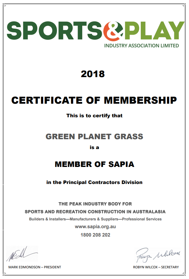 Sports and Play Certificate - Green Planet Grass
