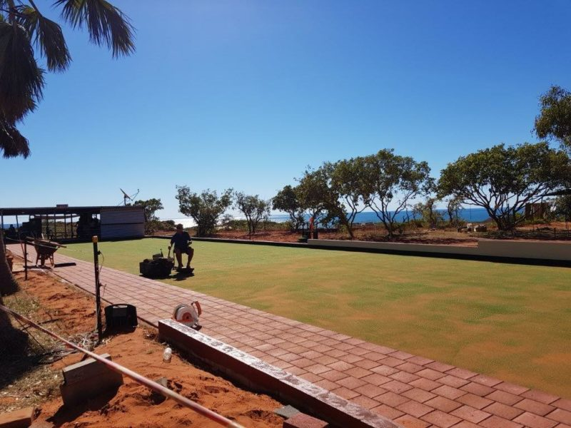 SYNTHETIC GRASS FOR BOWLING GREEN AT BARNHILL BEACHSIDE STATION STAY, NEAR BROOME